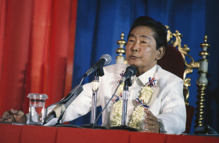 Filipino President Ferdinand Marcos in 1986. (Andy Hernandez/Sygma/Sygma via Getty Images)