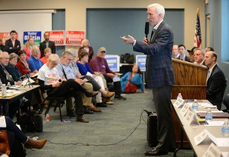 Republican candidate Bob Gray speaks during the League of Women Voters' candidate forum for Georgia's 6th Congressional District special election to replace Tom Price, who is now the secretary of Health and Human Services, in Marietta, Georgia, U.S. April 3, 2017. REUTERS/Bita Honarvar