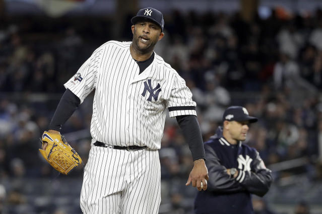 New York Yankees' pitcher CC Sabathia reacts as he waits to be relieved during the eighth inning of Game 4 of baseball's American League Championship Series against the Houston Astros, Thursday, Oct. 17, 2019, in New York. (AP Photo/Frank Franklin II)
