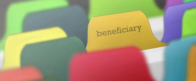 beneficiary word on index paper