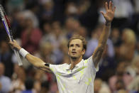 Daniil Medvedev, of Russia, reacts after defeating Grigor Dimitrov, of Bulgaria, in the men's singles semifinals of the U.S. Open tennis championships Friday, Sept. 6, 2019, in New York. (AP Photo/Charles Krupa)