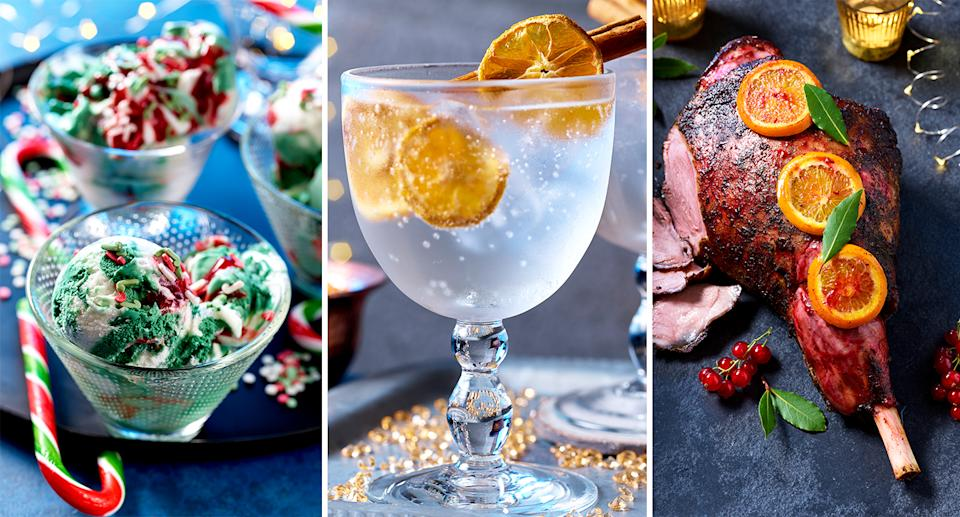 Asda's Christmas offering: (from left) elf ice cream, winter spice gin & tonic, leg of lamb with smoky mint and redcurrant.
