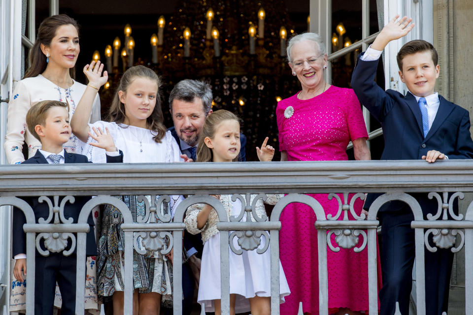 Crown Princess Mary of Denmark, Crown Prince Frederik of Denmark, Queen Margrethe of Denmark, Princess Isabella of Denmark, Prince Vincent of Denmark, Princess Josephine of Denmark and Prince Christian of Denmark
