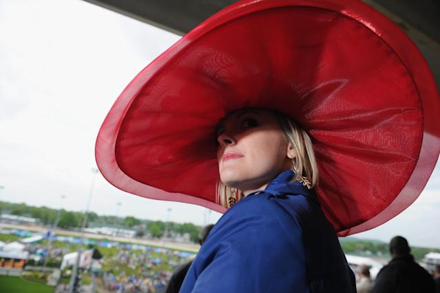 LOUISVILLE, KY - MAY 04: A guest attends the 139th Kentucky Derby at Churchill Downs on May 4, 2013 in Louisville, Kentucky. (Photo by Michael Loccisano/Getty Images)