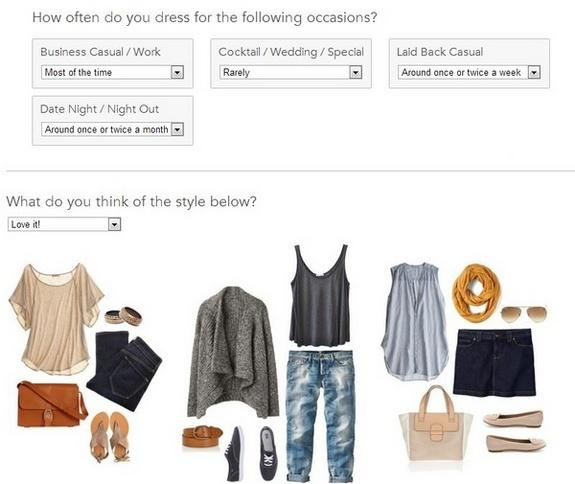 Sample of Stitch Fix profile questions