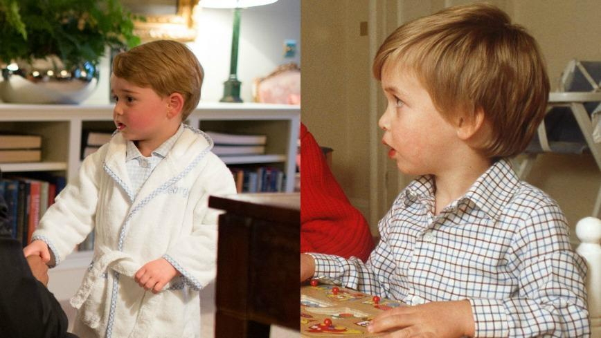 Prince William gave his mother, Princess Diana, the exact same look when he was reading a book as Prince George gave President Obama when he visited the tot at Kensington Palace.