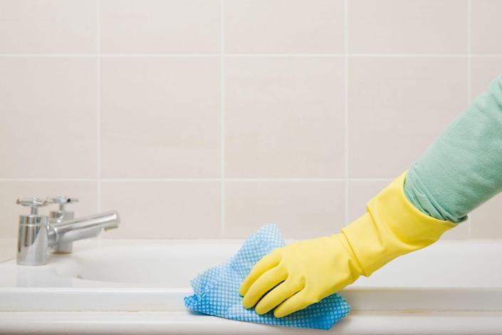 """<p>It's tough to keep your shower tile and grout mold-free, but <a href=""""https://www.goodhousekeeping.com/home/cleaning/a34763321/how-to-get-rid-of-mold/"""" rel=""""nofollow noopener"""" target=""""_blank"""" data-ylk=""""slk:small areas of mold can be removed"""" class=""""link rapid-noclick-resp"""">small areas of mold can be removed</a> with a grout cleaner, a mold remover, or a bleach-and-water solution. According to <em>Good Housekeeping</em>, <a href=""""https://www.amazon.com/Tilex-Mildew-Remover-Spray-Fluid/dp/B07BWMFVD5"""" rel=""""nofollow noopener"""" target=""""_blank"""" data-ylk=""""slk:Clorox Tilex Mold and Mildew Remover"""" class=""""link rapid-noclick-resp"""">Clorox Tilex Mold and Mildew Remover</a> can eliminate mold and mildew germs and bacteria in only a few minutes with no scrubbing required. </p><p>For shower curtains and liners, Clorox Tilex Mold and Mildew Remover can also be used to get rid of mold. Simply spray on, wait until the stains disappear, and rinse off. Another option is to wash your shower liner in your washing machine on the delicate cycle with warm water, laundry detergent, and bleach. </p>"""