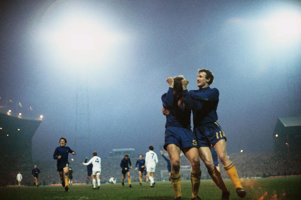 Peter Osgood, Chelsea's No9, celebrates scoring in the 1970 Cup final replay (Getty Images)