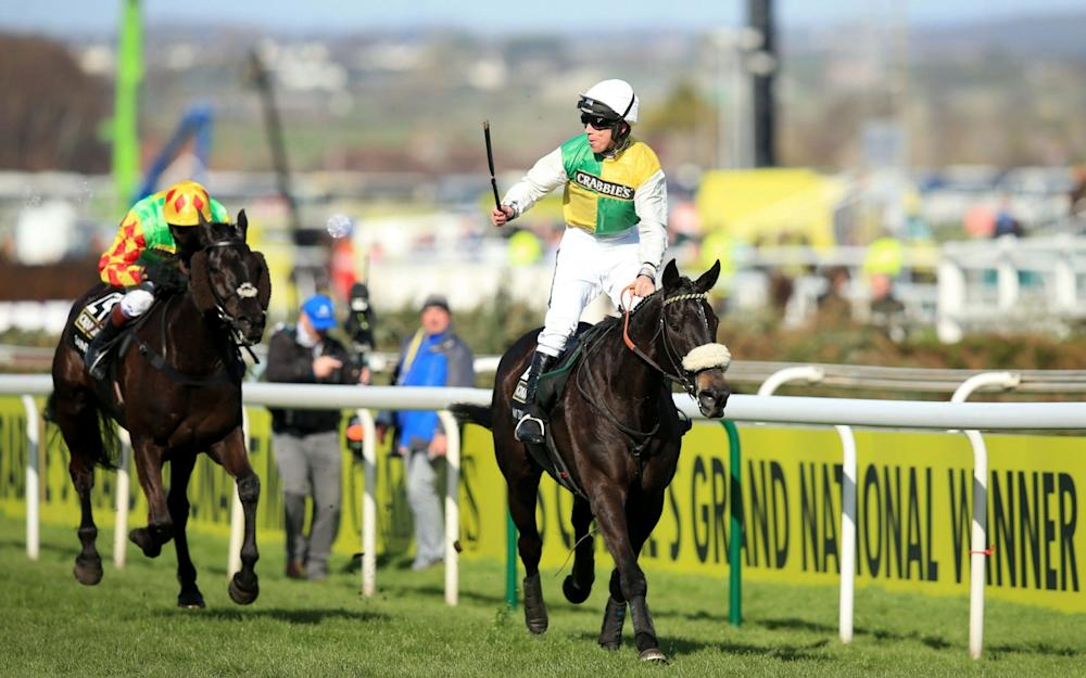 Jockey Leighton Aspell celebrates on board Many Clouds after victory in the Crabbie's Grand National Chase PRESS ASSOCIATION Photo. Issue date: Monday April 4 2016. Last year's winner Many Clouds heads a whopping 87 horses still left in the Crabbie's Grand National at Aintree on Saturday at the five-day confirmation stage. See PA story RACING National. Photo credit should read Mike Egerton/PA Wire - Credit: Mike Egerton/PA Wire