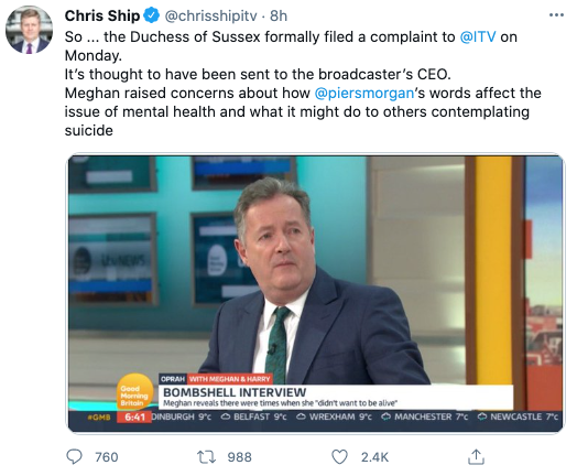 ITV's royal editor revealed that Meghan had filed a complaint to the broadcaster regarding GMA host Piers Morgan. Photo: Twitter/chrisshipitv.