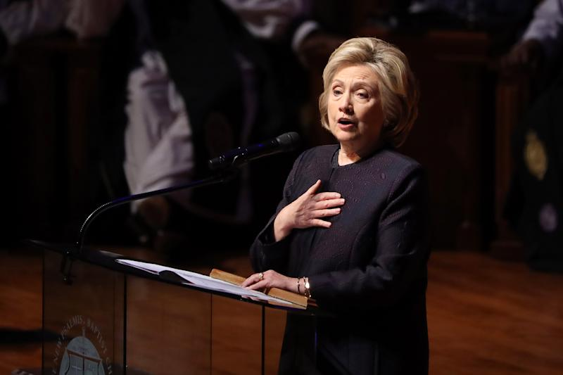 Former Secretary of State Hillary Clinton speaks during the funeral service for Rep. Elijah Cummings, D-Md., in Baltimore on Friday. (Chip Somodevilla/Getty Images)