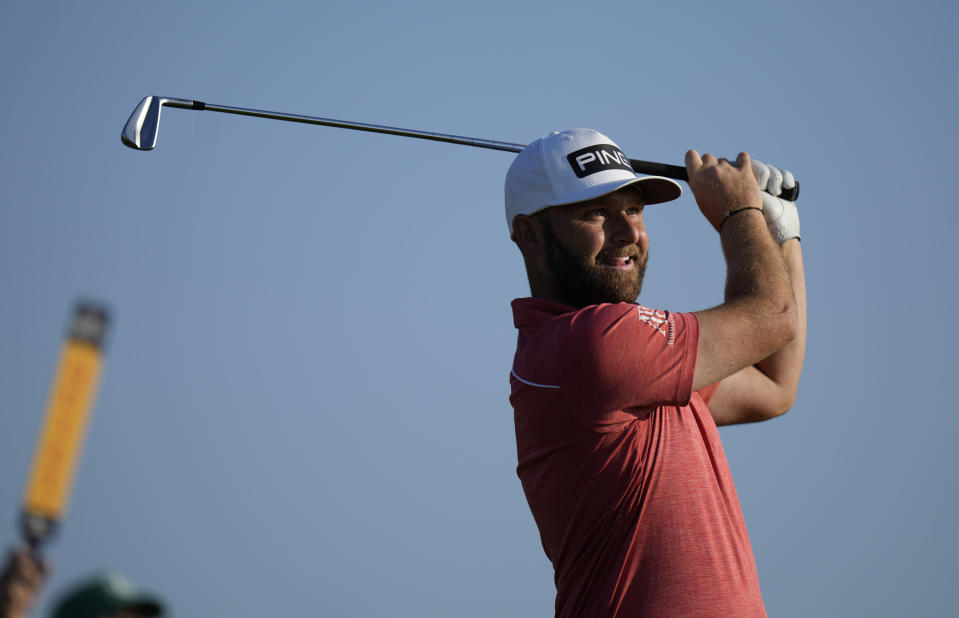 England's Andy Sullivan plays his tee shot on the 3rd hole during the first round British Open Golf Championship at Royal St George's golf course Sandwich, England, Thursday, July 15, 2021. (AP Photo/Alastair Grant)