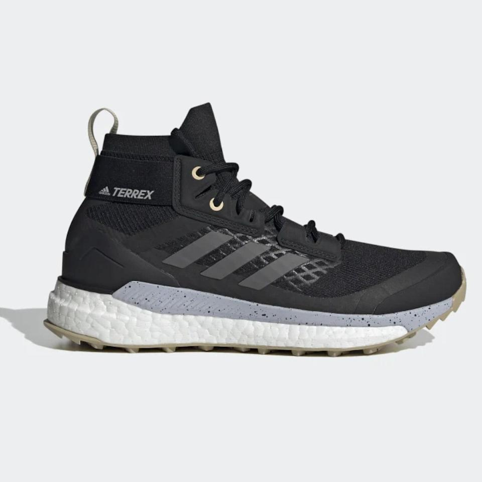 """A hiking boot you don't have to spend 10 minutes lacing up? Yes, please. Adidas' slip-in sock bootie is primarily made from recycled materials and features a grippy sole that'll hold its own on wet or dry terrain. $200, Adidas. <a href=""""https://www.adidas.com/us/terrex-free-hiker-primeblue-hiking-shoes/FY7337.html"""" rel=""""nofollow noopener"""" target=""""_blank"""" data-ylk=""""slk:Get it now!"""" class=""""link rapid-noclick-resp"""">Get it now!</a>"""