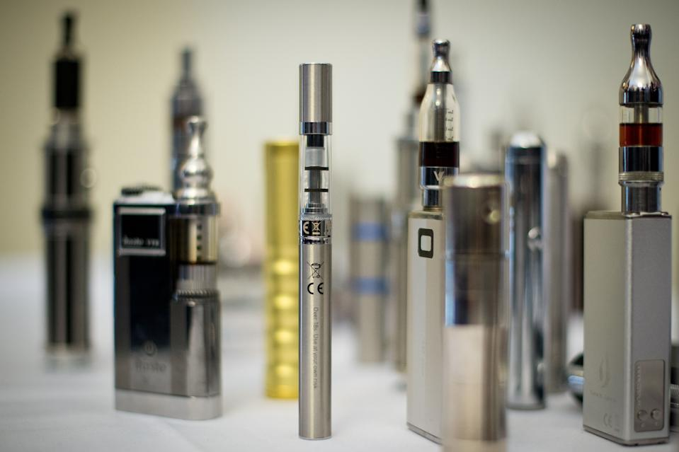 "A selection of ""Nicotine Containing Products"" displayed during ""The E-Cigarette Summit"" at the Royal Academy in central London on 12 November, 2013. (AFP via Getty Images file photo)"