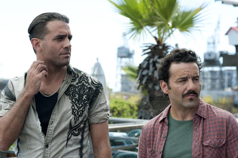 """This publicity image released by Sony Pictures Classics shows, Bobby Cannavale, left, and Max Casella in a scene from """"Blue Jasmine."""" (AP Photo/Sony Pictures Classics)"""