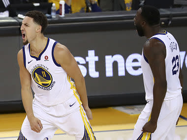 Klay Thompson scored 35 points, Stephen Curry scored 29 and Kevin Durant added 23 as the Warriors rallied from a 17-point first-quarter deficit to knot the best-of-seven series at 3-3