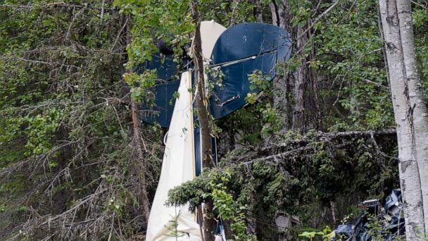 PHOTO: A plane rests in brush and trees after a midair collision outside of Soldotna, Alaska, on July 31, 2020. Seven people, including an Alaska state lawmaker,died when two small airplanes collided in midair near the airport on Alaska's Kenai Peninsula. (Jeff Helminiak/AP)