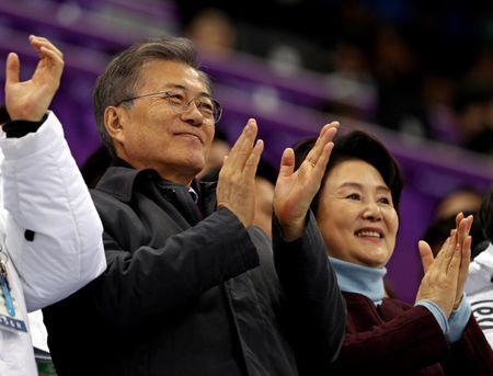 Feb 17, 2018; Pyeongchang, South Korea; South Korea president Moon Jae-in at the short track speed skating men's 1,000m final A during the Pyeongchang 2018 Olympic Winter Games at Gangneung Ice Arena. Mandatory Credit: Matt Kryger-USA TODAY Sports