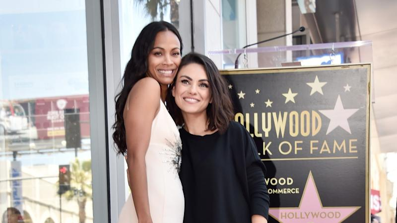 Zoe Saldana Gushes Over Mila Kunis Wonderful Support At Hollywood Walk Of Fame Ceremony Exclusive