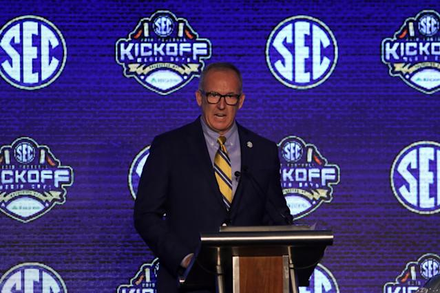 SEC Commissioner Greg Sankey addresses the media at the 2019 SEC Football Media Days. (Photo by Michael Wade/Icon Sportswire via Getty Images)