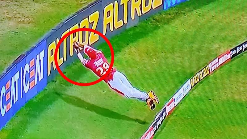 Nicholas Pooran is pictured making an amazing save on the boundary for the Kings XI Punjab in the IPL.