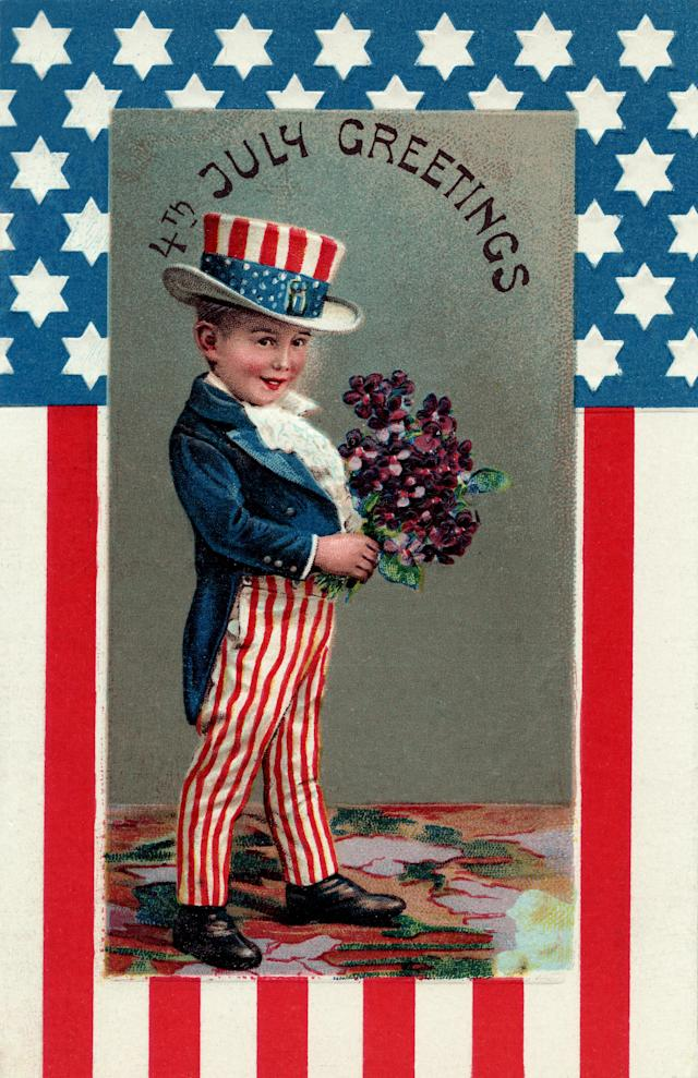 <p>Fourth of July postcard circa 1910, shows a boy dressed as Uncle Sam holding bouquet of flowers. (Photo: Samantha Vuignier/Corbis via Getty Images) </p>