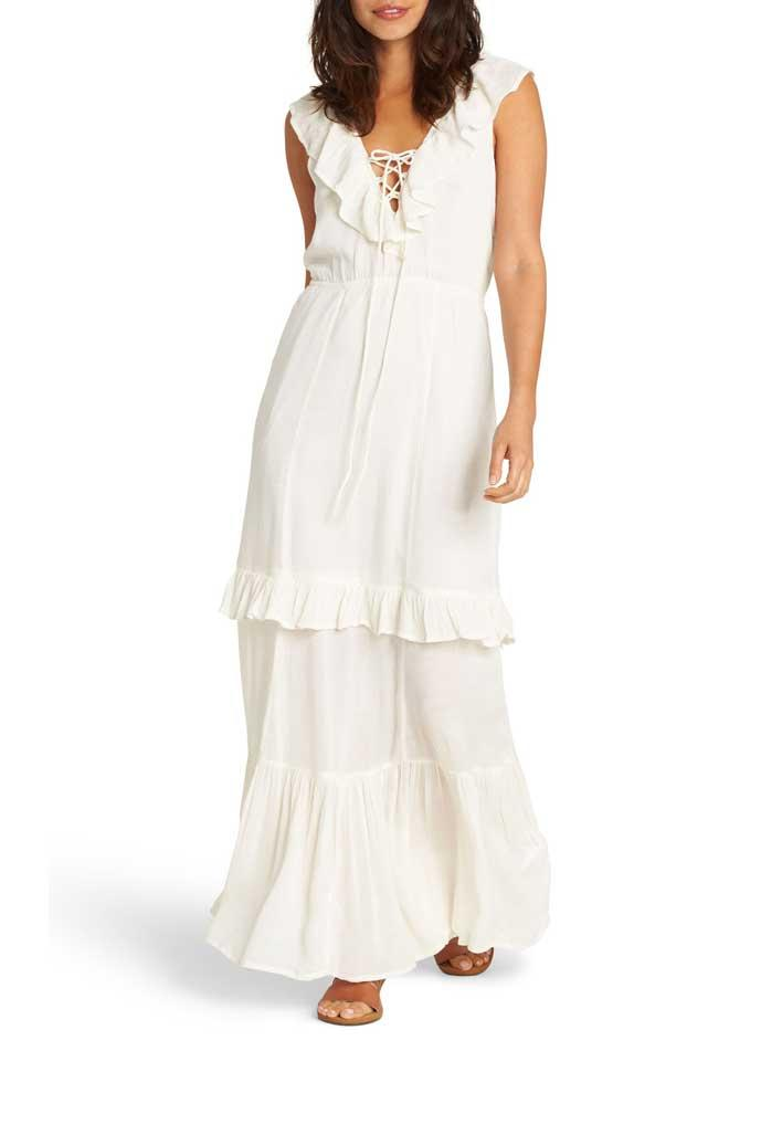White ruffle tiered maxi dress.