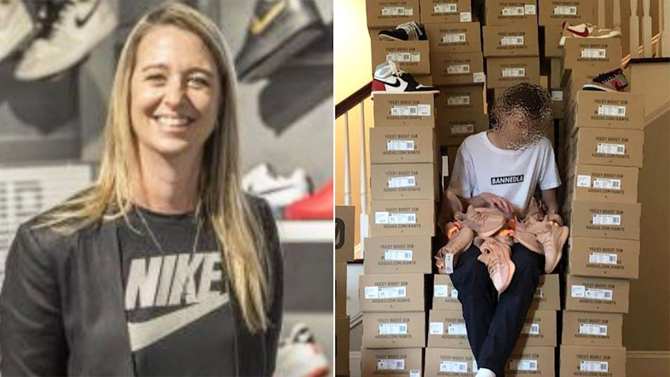 Pictured here, Ann Hebert and a photo of her son's sneaker-flipping business.