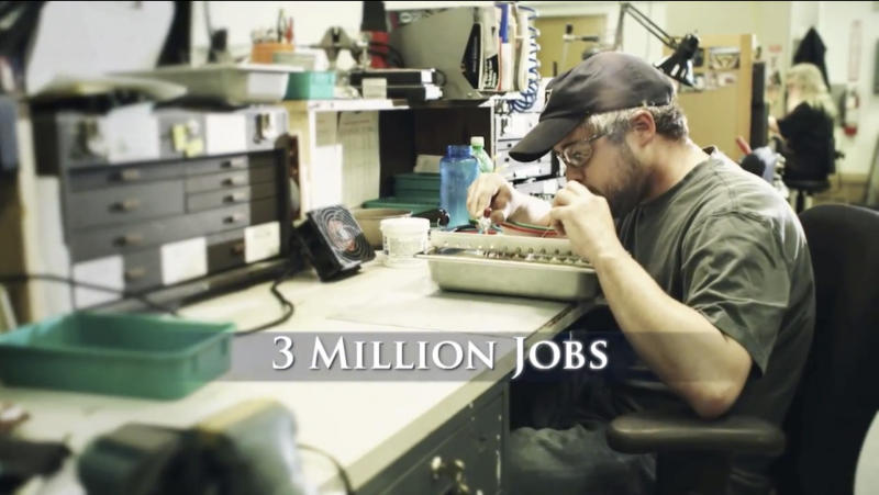 "This image provided by Romney For President, Inc. shows a still frame made from a video ad entitled ""12 Million Jobs."" One analysis estimates the campaigns and independent groups will have spent about $1.1 billion on television advertising this year, with $750 million already allocated in states likely to determine the outcome of the presidential contest. Romney primarily is running a spot in which he promises to boost the economy through manufacturing, energy and cracking down on China. (AP Photo/Romney for President, Inc.)"