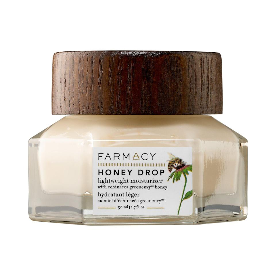 """<p>Hyaluronic acid, echinacea, and capuacu butter are just three of the hydrating superstars in this featherlight moisturizer.</p><p><strong>Farmacy</strong> Honey Dop Lightweight Moisturizer, $45, available at <a href=""""https://www.sephora.com/product/honey-drop-lightweight-moisturizer-with-echinacea-greenenvy-tm-P420698?skuId=1964519&icid2=just%20arrived:p420698"""" rel=""""nofollow noopener"""" target=""""_blank"""" data-ylk=""""slk:Sephora"""" class=""""link rapid-noclick-resp"""">Sephora</a>.</p>"""