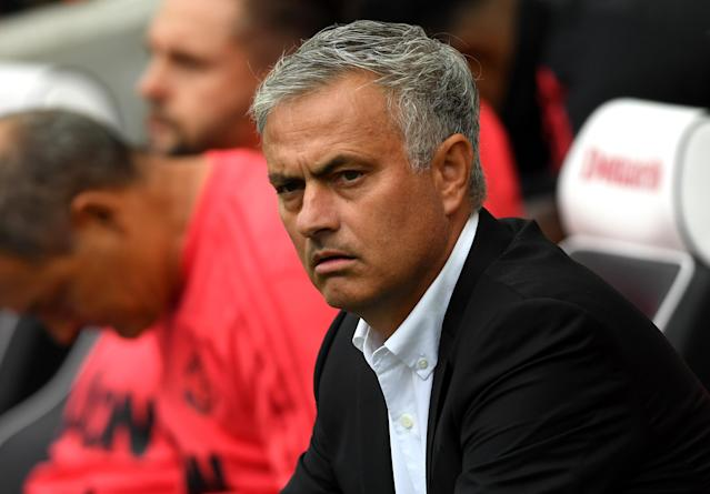 Jose Mourinho, Manager of Manchester United looks on during the Premier League match between Brighton & Hove Albion and Manchester United at American Express Community Stadium on August 19, 2018 in Brighton, United Kingdom. (Photo by Mike Hewitt/Getty Images)