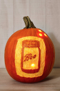 <p>To complement your farmhouse chic decor, take the time to carve out a classic mason jar on your pumpkin. Instead of the iconic Ball logo, go with something more festive. </p>