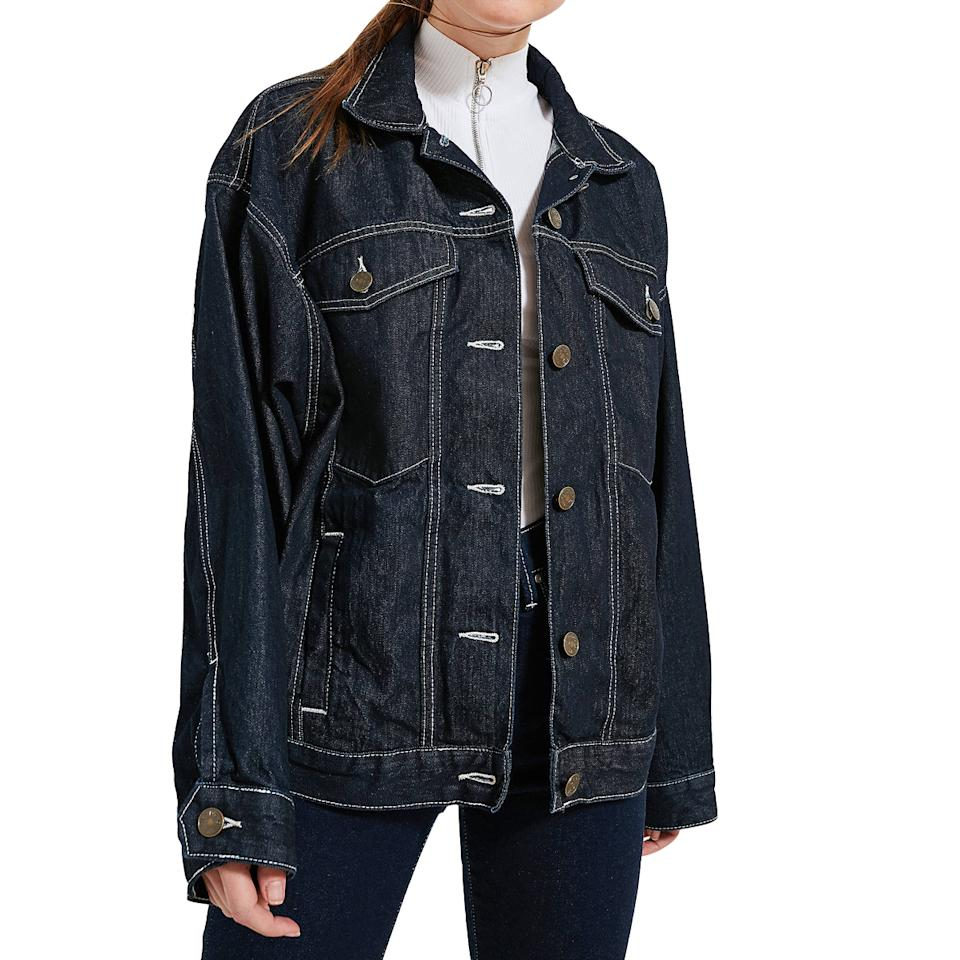 "<p>Buy it <a rel=""nofollow"" href=""https://www.urbanoutfitters.com/shop/bdg-80s-denim-trucker-jacket"">here</a> for $79.</p>"