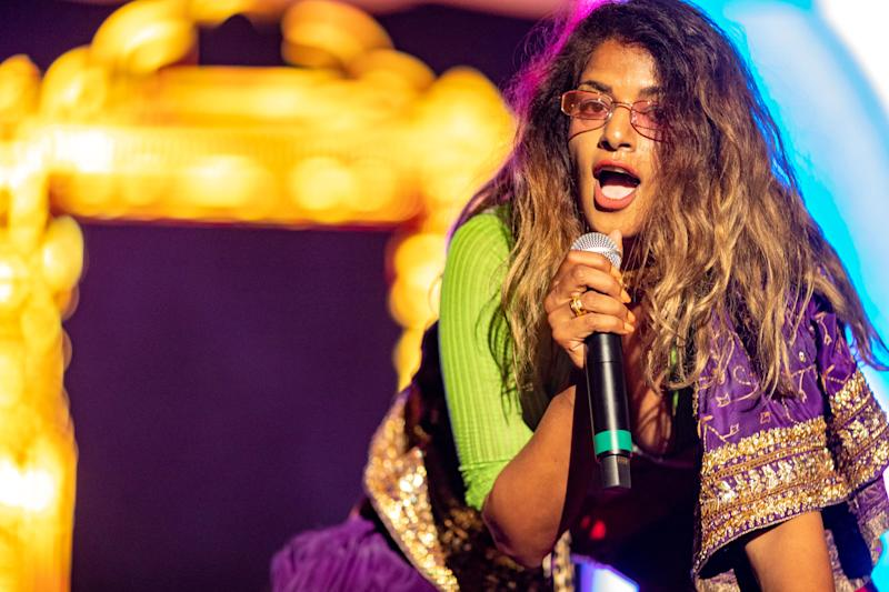 M.I.A. performs during the All My Friends Music Festival on August 19, 2018 in Los Angeles, California.
