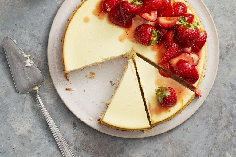 """<p>The coconut crust makes this pretty dessert gluten-free, while the jammy topping makes it festive — and totally delicious.</p><p><em><a href=""""https://www.goodhousekeeping.com/food-recipes/dessert/a26783658/strawberry-coconut-crust-cheesecake-recipe/"""" target=""""_blank"""">Get the recipe for Strawberry Coconut-Crust Cheesecake »</a></em></p><p><strong>RELATED: </strong><a href=""""https://www.goodhousekeeping.com/food-recipes/dessert/g376/gluten-free-dessert-recipes/"""" target=""""_blank"""">25 Gluten-Free Desserts That Will Be the Hit of Any Party</a><strong></strong></p>"""