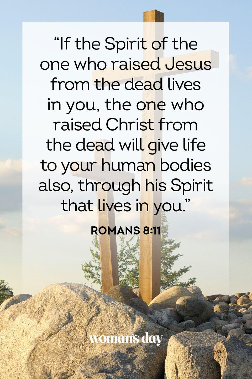 "<p>""If the Spirit of the one who raised Jesus from the dead lives in you, the one who raised Christ from the dead will give life to your human bodies also, through his Spirit that lives in you."" — Romans 8:11</p>"