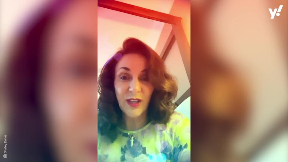 <p>Shirley Ballas shows off a plastic bag taped over her hand as she cools off in her pool. The Strictly Come Dancing judge - who is undergoing cancer treatment - has had seven stitches in her hand following a kitchen injury.