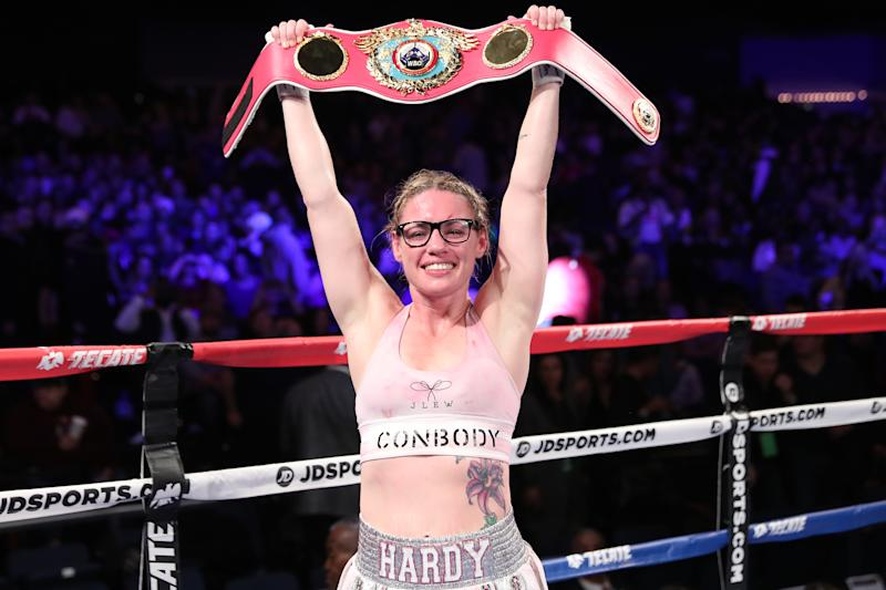 NEW YORK, NY - OCTOBER 26: Heather Hardy celebrates after defeating Shelly Vincent by unanimous decision during their featherweight fight on October 26, 2018 in New York City. (Photo by Edward Diller/Getty Images)