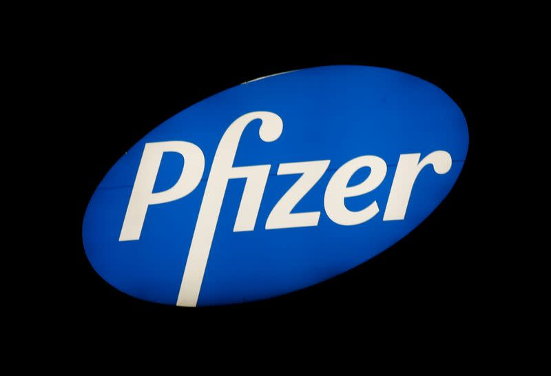 Logo of U.S. pharmaceutical corporation Pfizer Inc. is seen in Zurich