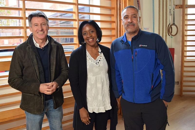 Pictured: The founder of charity Track Academy, Connie Henry (centre), with Lord Sebastian Coe (left) and Daley Thompson CBE (right) at Daley Thompson's gym (Daley Fitness) in Putney, London (Golden Egg Innovation)