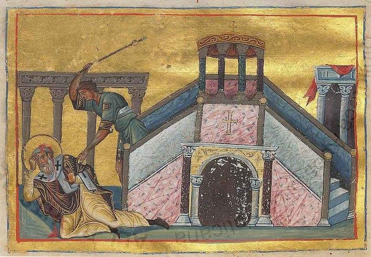An old religious painting of a man hitting another man with a stick