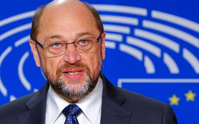 European Parliament President Martin Schulz speaks during a news conference at the EP in Brussels