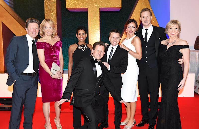 LONDON, ENGLAND - JANUARY 25: (L to R) Charlie Stayt, Louise Minchin, Naga Munchetty, Mike Bushell, Chris Hollins, Sally Nugent, Dan Walker and Carol Kirkwood attend the National Television Awards on January 25, 2017 in London, United Kingdom. (Photo by David M. Benett/Dave Benett/Getty Images )
