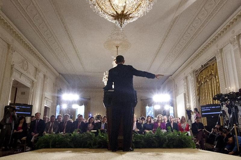 President Barack Obama gestures during the final news conference of his first term as he speaks in the East Room of the White House in Washington, Monday, Jan. 14, 2013. (AP Photo/Carolyn Kaster)