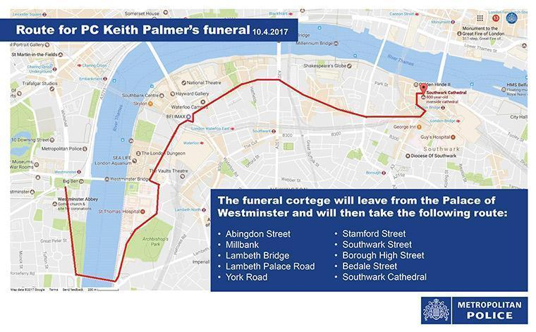 Map: The funeral cortege will leave from the Palace of Westminster