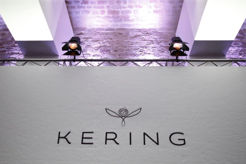 The logo of Kering is seen during the company's 2015 annual results presentation in Paris