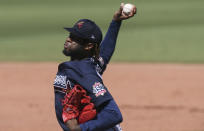 Atlanta Braves starting pitcher Touki Toussaint delivers a pitch in the third inning during a spring training baseball game against the Boston Red Sox on Monday, March 1, 2021, in Fort Myers, Fla. (AP Photo/Brynn Anderson)