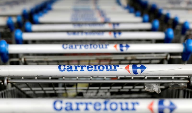 FILE PHOTO: The logo of French retailer Carrefour on shopping trolleys in Sao Paulo