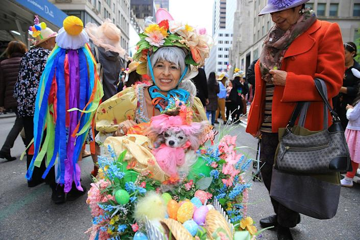 Dogs dressed in costumes participate in the Easter Parade and Bonnet Festival, Sunday, April 21, 2019, in New York. (Photo: Gordon Donovan/Yahoo News)