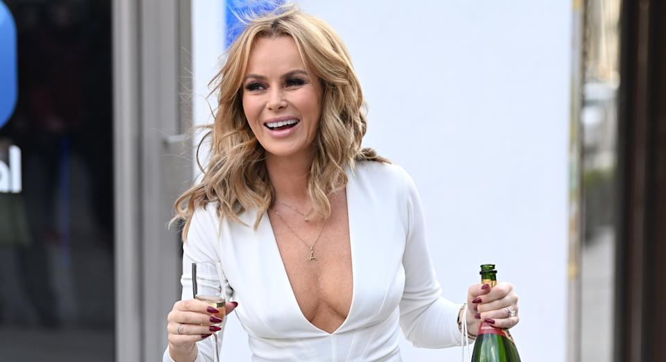 Amanda Holden celebrates her 50th birthday at Global radio studios on 12 February, 2021 (Getty)